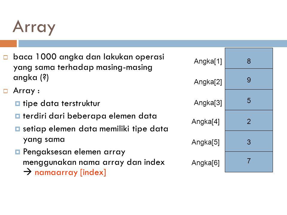 Array 8. 9. 5. 2. 3. 7. Angka[1] Angka[2] Angka[3] Angka[4] Angka[5] Angka[6]